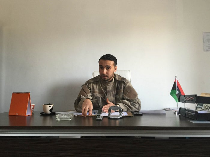 First Lt. Mohamed Ahmed al-Baqer in his office at Libya's Interior Ministry