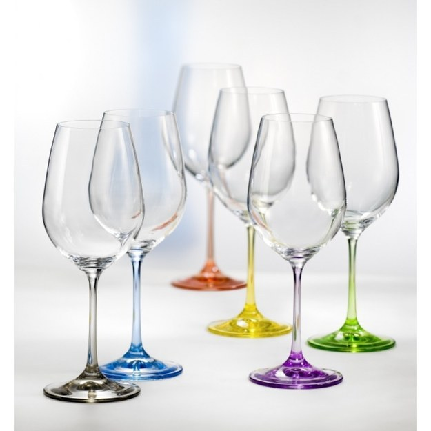 These wine glasses with colored stems.