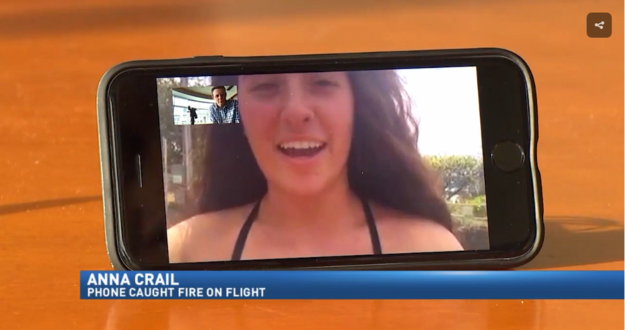 A college student says she was terrified when her iPhone spontaneously burst into flames during her flight from Washington to Hawaii for spring break.
