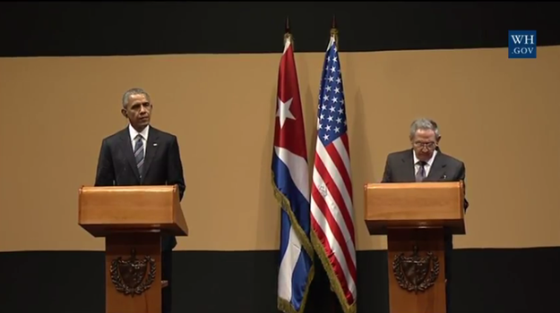 President Obama and Cuban President Raul Castro delivered statements to the press Monday, during Obama's historic three-day visit to Cuba.