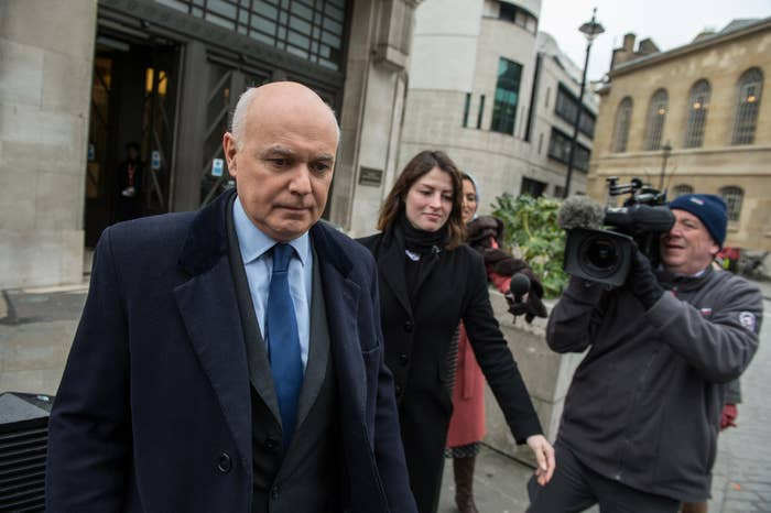 Iain Duncan Smith leaves BBC New Broadcasting House after appearing on The Andrew Marr Show on Sunday.