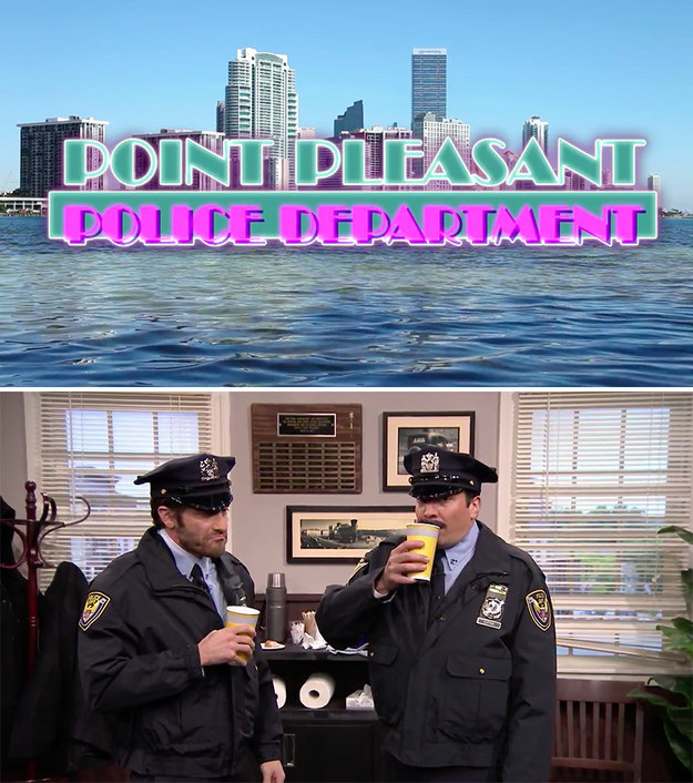 Last night on The Tonight Show, Jake Gyllenhaal and Jimmy Fallon acted out scenes from the pretend '80s cop show, Point Pleasant Police Department.