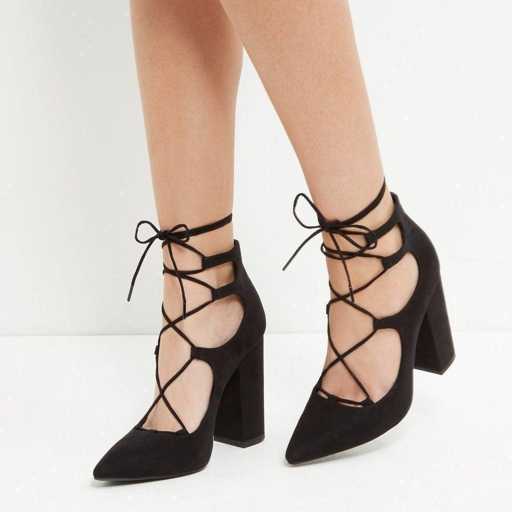 Black Suedette Pointed Ghillie Block Heels, £27.99