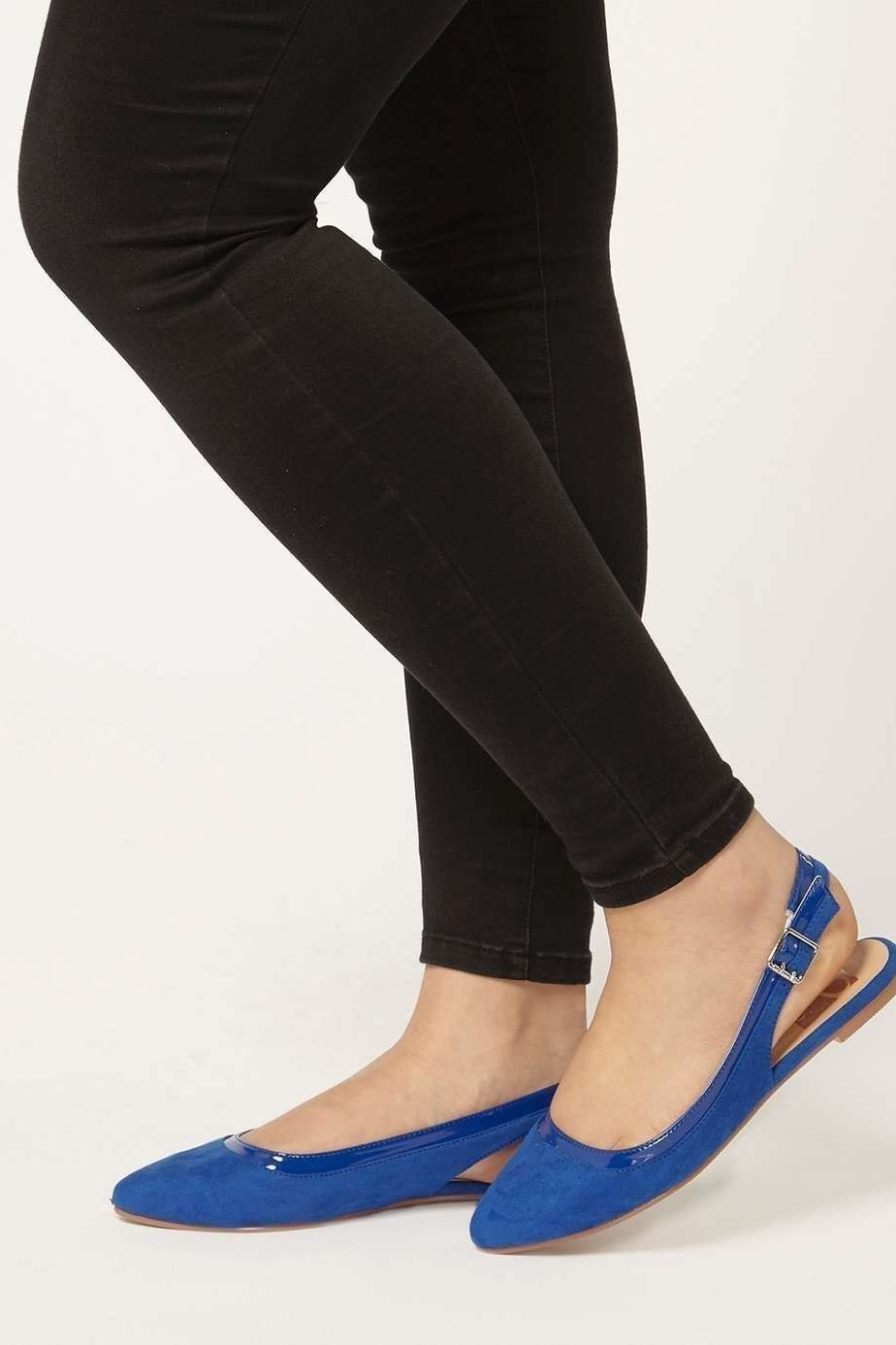 Blue Suedette Slingback Shoe, £20.00