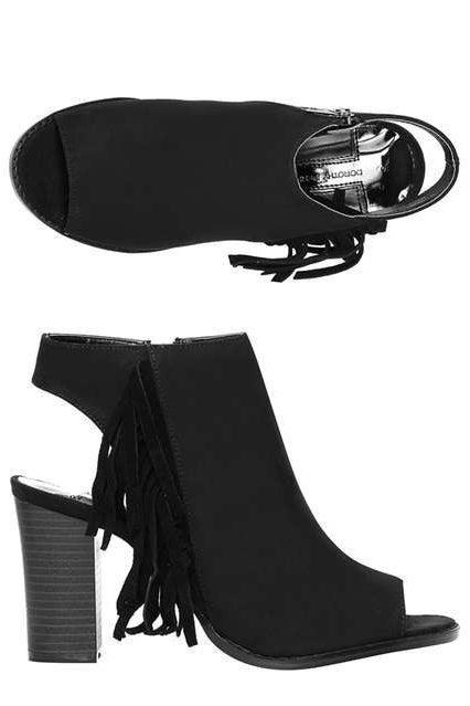 Black 'Alexis' Fringe Boots, £39.00