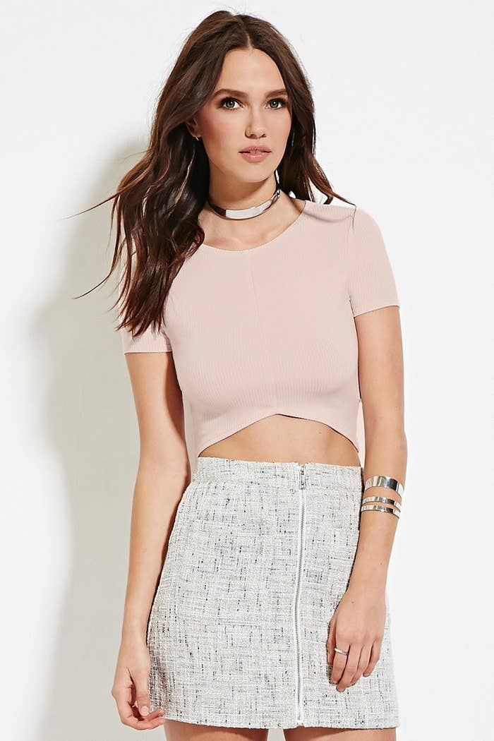 a774f5c5b92e5 This curved-hem crop top that also comes in black and white ( 9.90)