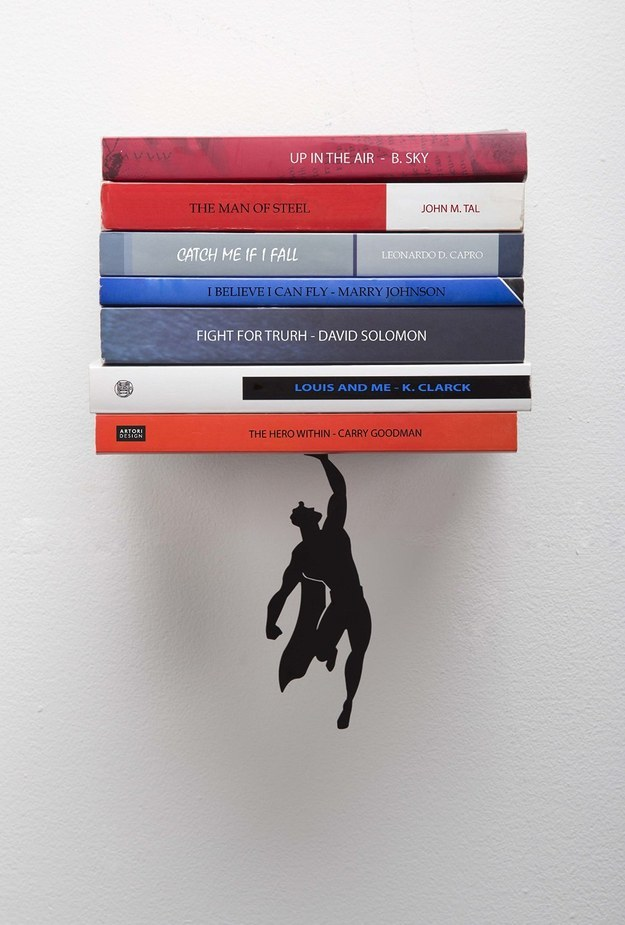 A floating shelf that would be perfect for displaying your comic book collection.