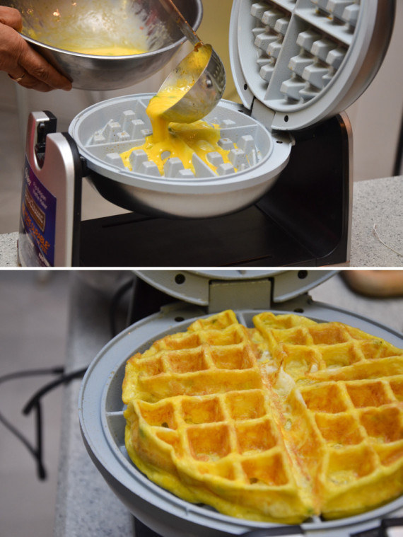 Toss eggs in a waffle maker: