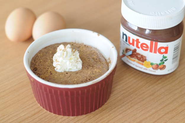 Combine Nutella + egg for a makeshift soufflé: