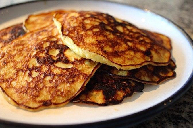 Banana pancakes FTW. Recipe here.