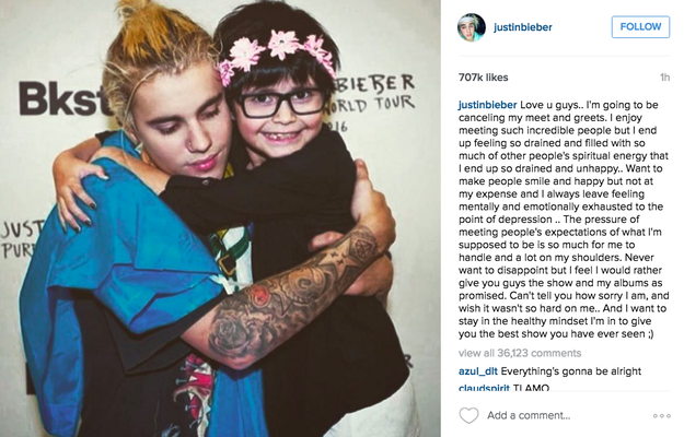 Justin Bieber has announced on Instagram that he is cancelling the meet and greet for his I'll Show You concert.