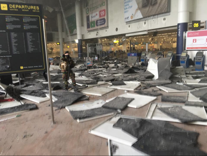 A photo of the scene at Brussels Airport in Zaventem, Belgium, following explosions.