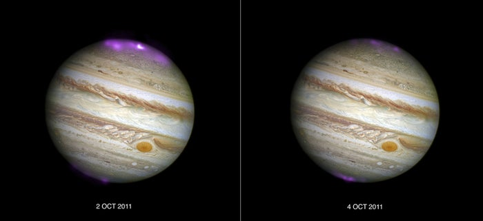 Jupiter's X-ray emission (in magenta and white, for the brightest spot, overlaid on a Hubble Space Telescope optical image) captured by the Chandra X-ray Observatory as a coronal mass ejection reaches the planet on 2 October 2011, and then after the solar wind subsides on 4 October 2011.