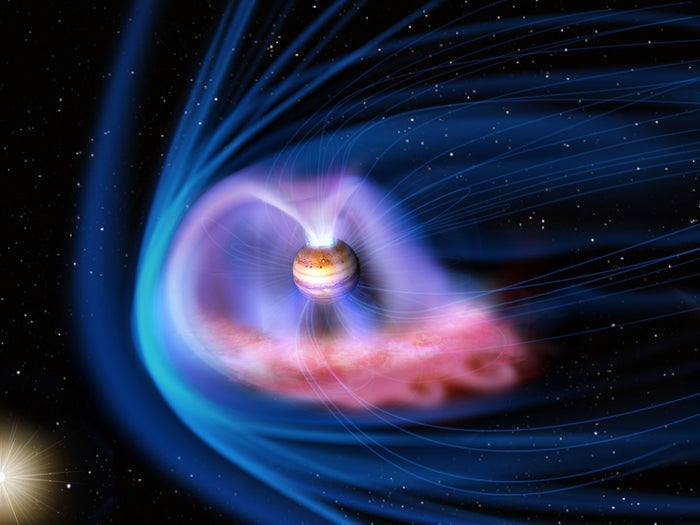 A CGI image showing the interaction of the solar wind with Jupiter's magnetic field.