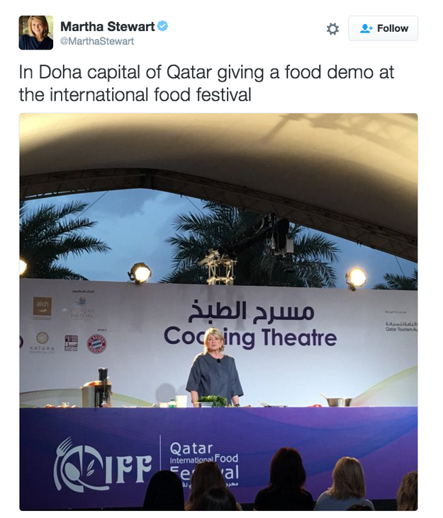 Martha Stewart, lifestyle guru and Twitter icon, recently traveled to Qatar to spread her cooking gospel.