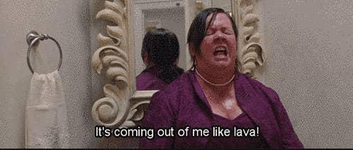 "Melissa McCarthy pooping in the toilet in ""Bridesmaids"""
