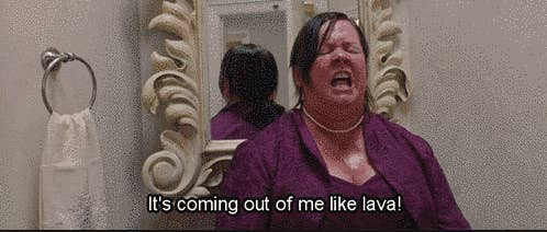 "Melissa McCarthy pooping in the toilet in ""Bridesmaids"""