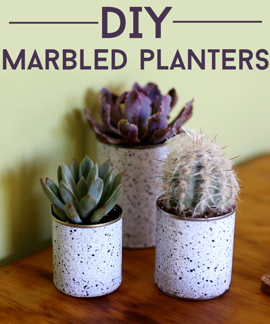 These DIY Marbled Planters Will Give Your Home The Life It Needs