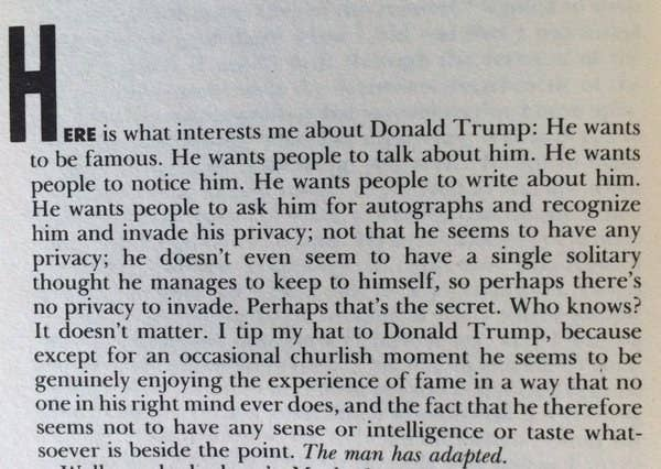 You have to read nora ephron s old analysis of donald trump