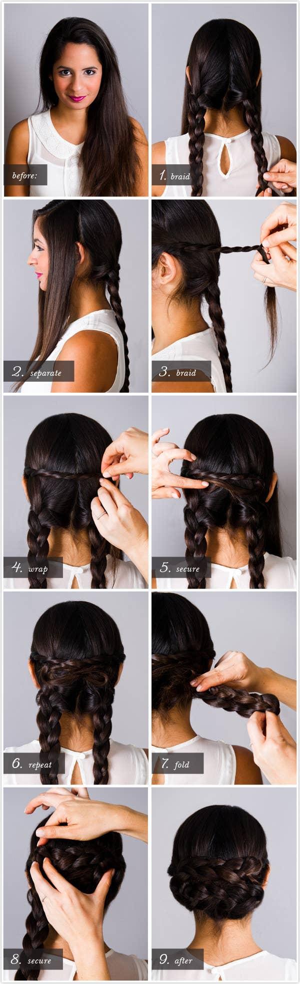 Básicamente te haces dos trenzas y luego las juntas. No necesitarás plancharte el pelo para esto, te lo juro. Los detalles están aquí.