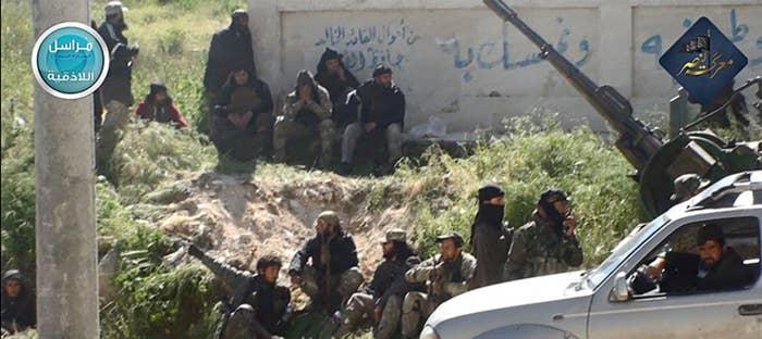 Nusra Front fighters in the town of Jisr al-Shughour, Idlib province