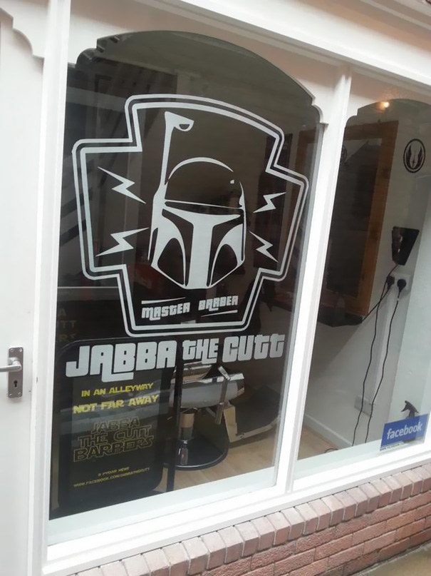 "Listen, man. Either make your logo a picture of Jabba or go with ""Barber Fett."" Choose one."