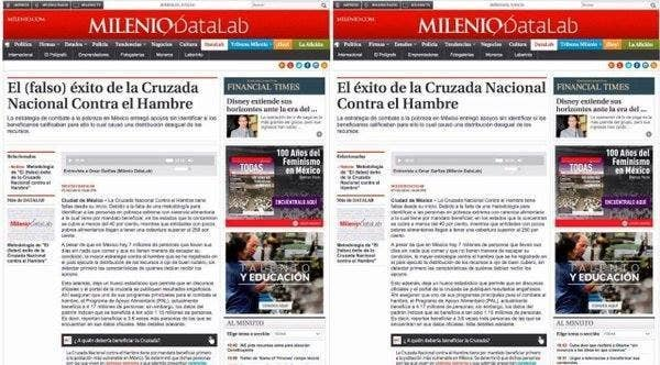 The original article (left) and the one that was altered after government officials complained.
