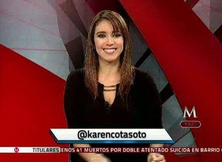 Karen Cota during a transmission on Milenio TV.