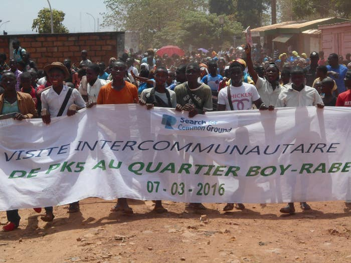 Hundreds of people marched from a Muslim neighborhood known as PK-5 to another neighborhood, called Boy-Rabe, both in the capital city, Bangui.