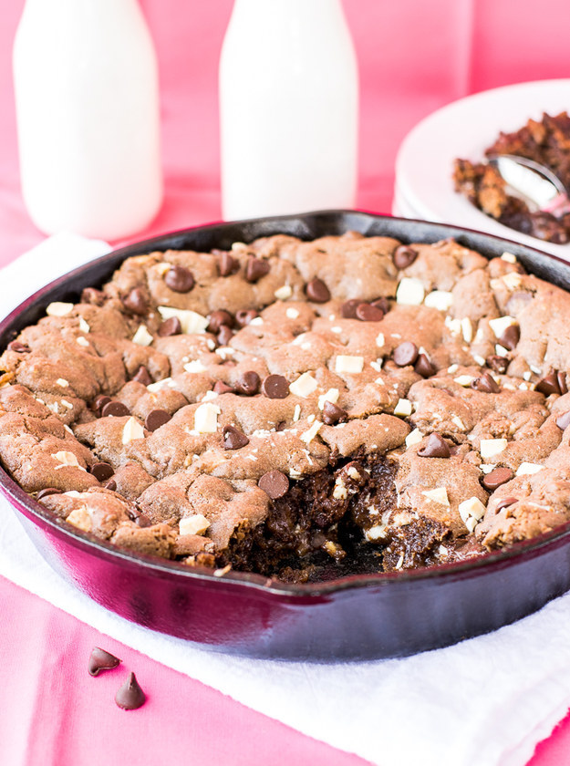 Triple Chocolate Skillet Cookie with Salted Caramel