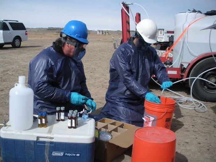 EPA staff sampling a well for hydraulic fracturing contaminants