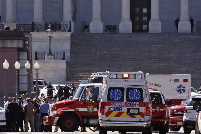 Law Enforcement and rescue vehicles are seen on Capitol Hill after the shooting.