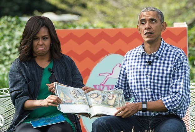 Barack and Michelle animatedly read Where The Wild Things Are to kids on Easter. March, 2016.