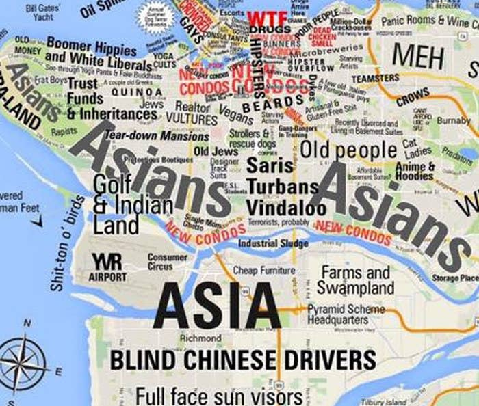 Map 9f Asia.People In Vancouver Seem To Love This Racist Map Of Their City