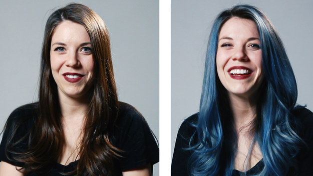 Hannah was given a denim dye to her luscious locks, and she looked pretty bomb.