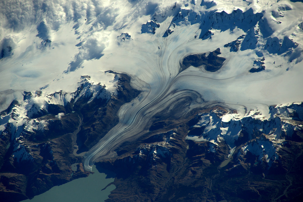 This aerial scene of a glacial river looks more like a watercolour.