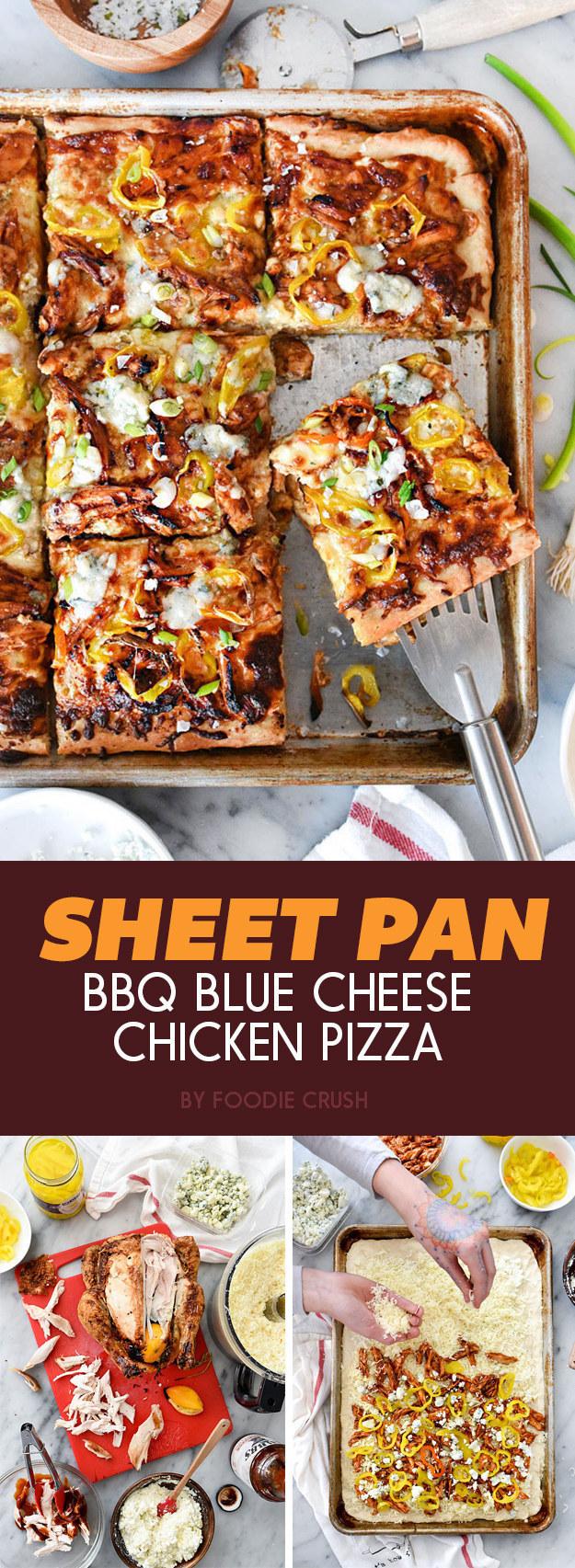 Sheet Pan BBQ Blue Cheese Chicken Pizza