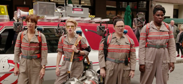 It shows Kristen Wiig, Kate McKinnon, Melissa McCarthy, and Leslie Jones in action as our new ghostbusting heroes.