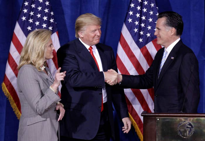 Donald Trump announced his endorsement of Romney during a news conference on Feb. 2, 2012.