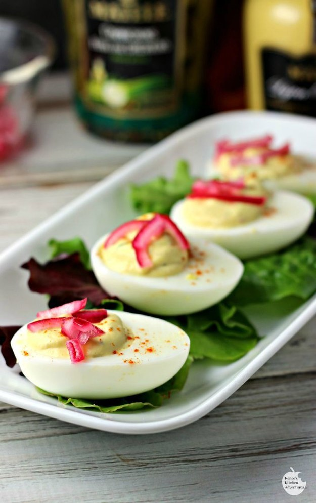 Pickled Red Onion Deviled Eggs