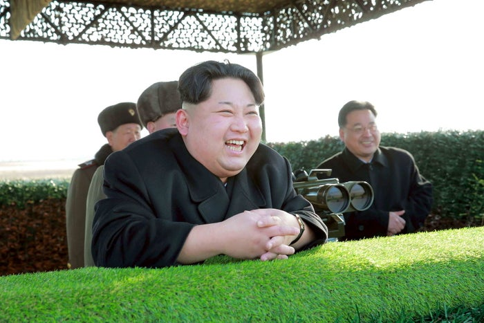 North Korean leader Kim Jong Un at a weapons test in an undated photo released by the Korean Central News Agency (KCNA), Feb. 27.