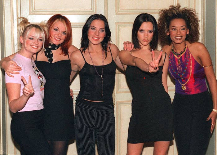 The Spice Girls pose for the media at a hotel in Paris, 1997.