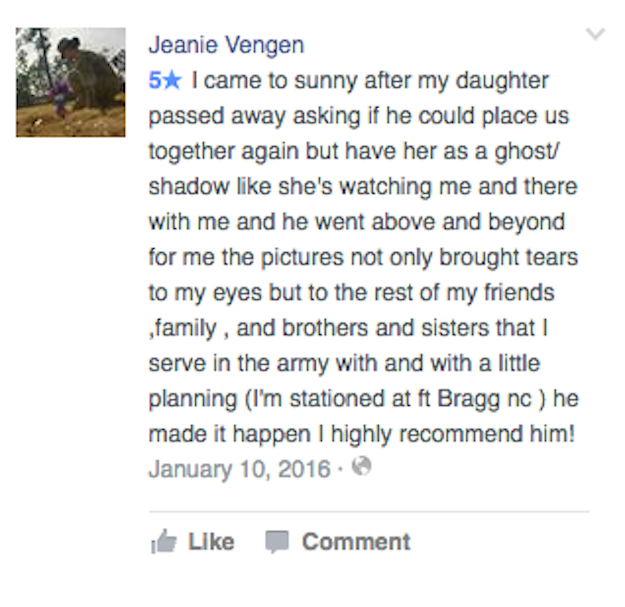 A Facebook account apparently belonging to Ditty also left a review of the photos on Sunny Jo's Facebook page: