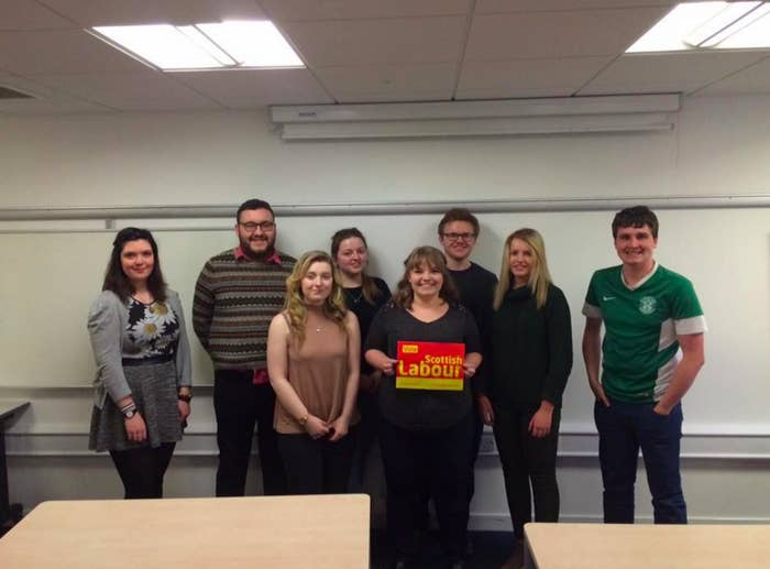 Bradshaw (centre) with the rest of the incoming Stirling University Labour committee.