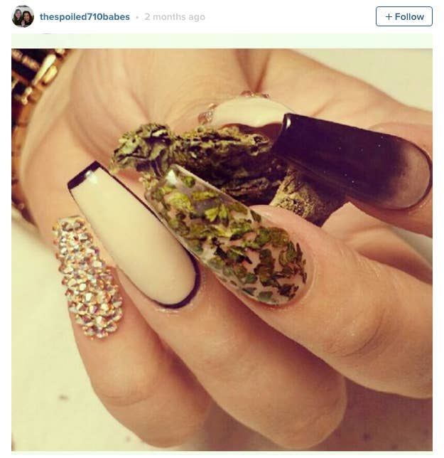 People are using actual pot to get these amazing weed manicures ganja nails can be quite elegant this manicure takes a minimal but glam interpretation of the sticky herb prinsesfo Image collections