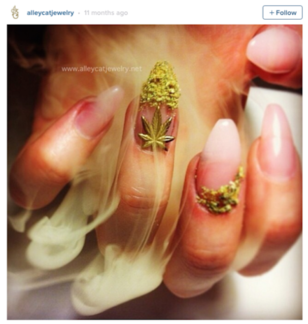 "There have been some pretty crazy nail trends going around lately, from fur nails to bubble nails. But ""weed nails"" may just take the cake."