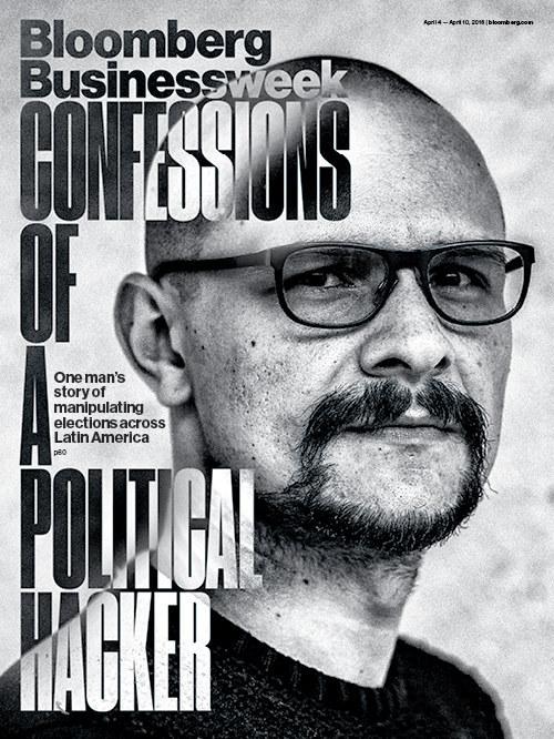 El número de la primera semana de abril de 2016 de Bloomberg Businessweek muestra en portada el rostro del hacker colombiano Andrés Sepúlveda.