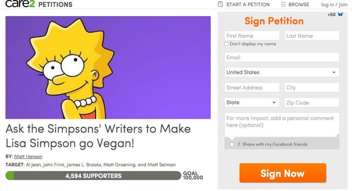 """On March 21st 2015, Matt Hanson decided to start a petition asking Al Jean, John Frink, James L. Brooks, Matt Groening, and Matt Selman to make Lisa Simpson vegan. So far, this petition has 4594 supporters towards a goal of 100, 000. Hanson, from Perth, Australia, became vegan after watching American animal rights activist and lecturer Gary Yourofksy's """"Greatest Speech You Will Ever Hear""""."""