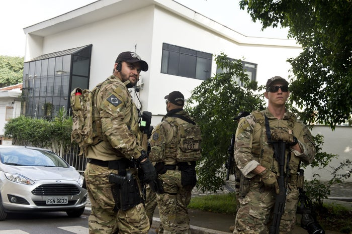 Federal police officers are deployed at the Lula Institute headquarters in Sao Paulo