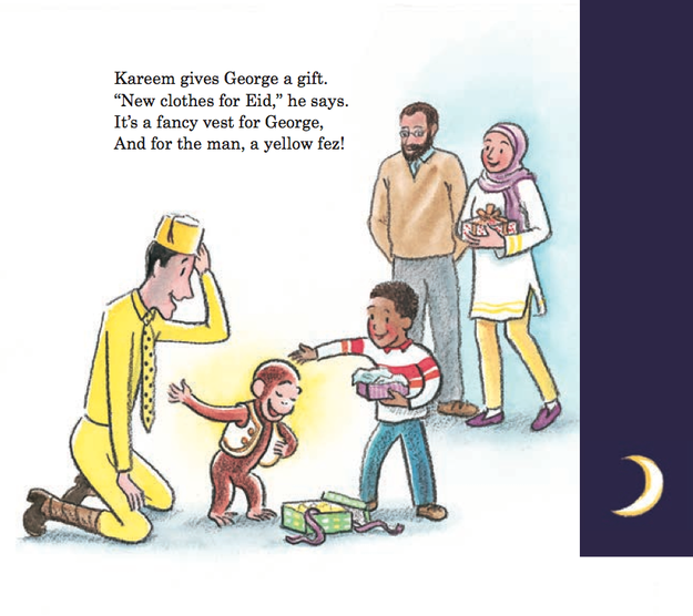 And after an Eid gift from Kareem and his family, the Man in the Yellow Hat becomes The Man in the Yellow Fez for a day.